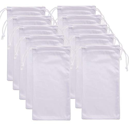 EMAAN 10 Packs-Microfiber Sunglasses Glasses Gadgets Cleaning and Storage Pouch Drawstring Bag(White)