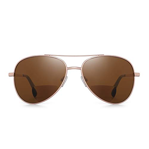 JM Clásico Piloto Gafas de lectura Bifocales Gafas de sol Lectores para hombres Mujeres Oro +2.0