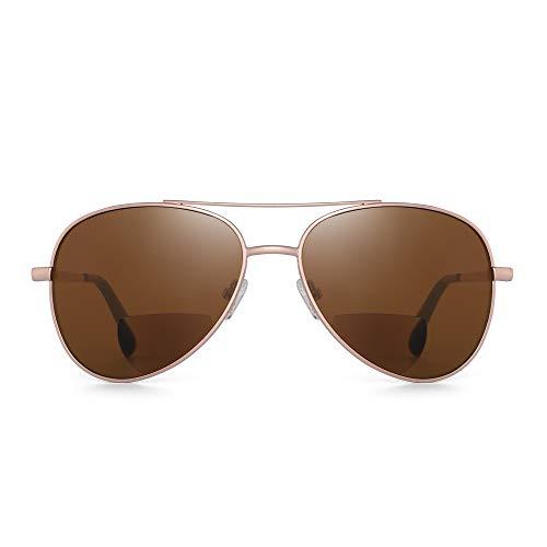 JM Clásico Piloto Gafas de lectura Bifocales Gafas de sol Lectores para hombres Mujeres Oro +3.5