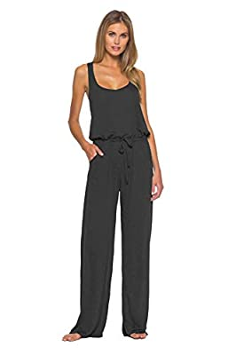 Becca by Rebecca Virtue Women's Tie-Front Jumpsuit Swim Cover Up Black M