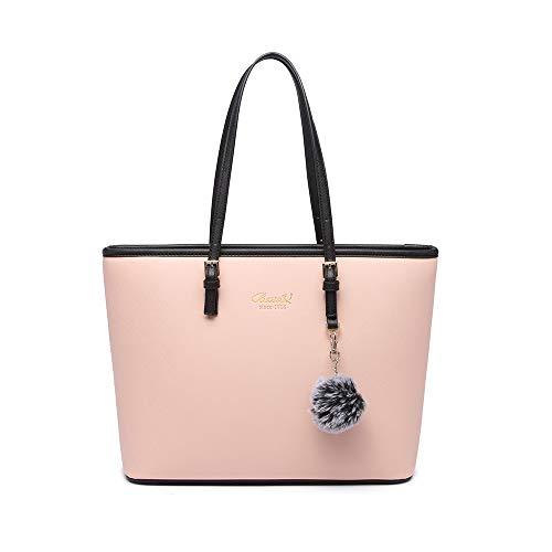 Handtasche Damen Schwarz Shopper Elegant Damen Groß Leder Handtasche Tasche für Büro Schule Einkauf mit Pelz Kugel Plüsch Schlüsselring (Verbesserte Version) (Rosa)