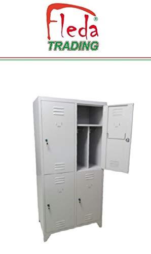 Fleda TRADING Armadio Armadietto Spogliatoio in Metallo 4 Posti con divisorio Sporco/Pulito. Dim. totali 81x50x180H
