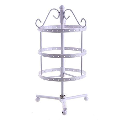 N-B 3 Stufen Metalldrehender Schmuckständer 72 Löcher Runde runde Ohrringe Display Rack Ohrstecker Halskette Schmuckhalter