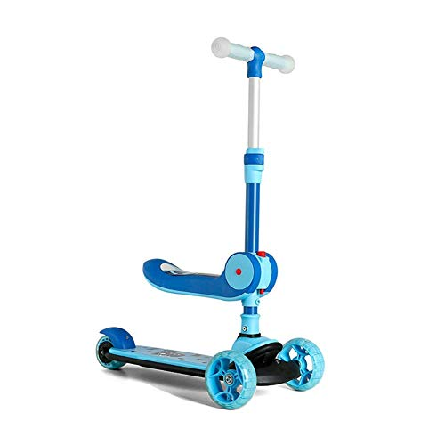 Triciclo de gama alta Triciclo triciclo para niños Scooter de 3 ruedas Triciclo de equilibrio plegable Rueda intermitente Niños Juguete deportivo al aire libre con asiento plegable Regalo de cumpleaño