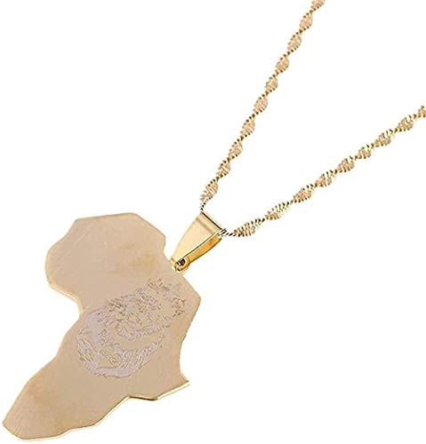 Aluyouqi Co.,ltd Collar Collar África León Corazón Mapa Collar Colgante de Color Dorado Cadena Mapa Africano Regalo para Hombres Mujeres Joyería etíope Collares Longitud 50Cm
