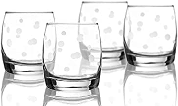 Style Setter Freosted Dot Old Fashioned Set of 4 Elegant Lead-Free Matching Drinkware Perfect for Everyday Use, 5x5x5, Glass