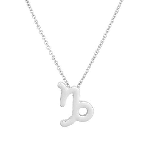 BGPOM Halskette Sommer Zwölf Sternbild Halskette Sternbild Anhänger Karte Schlüsselbeinkette, Steinbock Silber