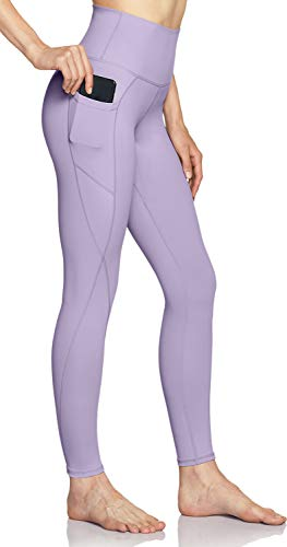 TSLA High Waist Yoga Pants with Pockets, Tummy Control Yoga Leggings, Non See-Through 4 Way Stretch Workout Running Tights, Pocket Peachy(fap54) - Lavender, Medium