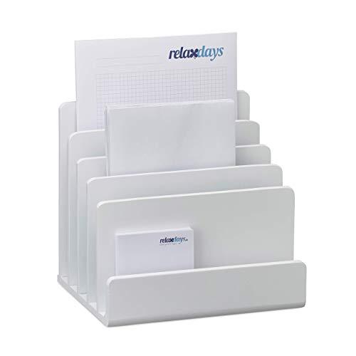 Relaxdays, weiß Dokumentenhalter Bambus, Briefablage, 5 Fächer Ordnungssystem, Schreibtisch Organizer HBT 23x24,5x20,5cm, Standard