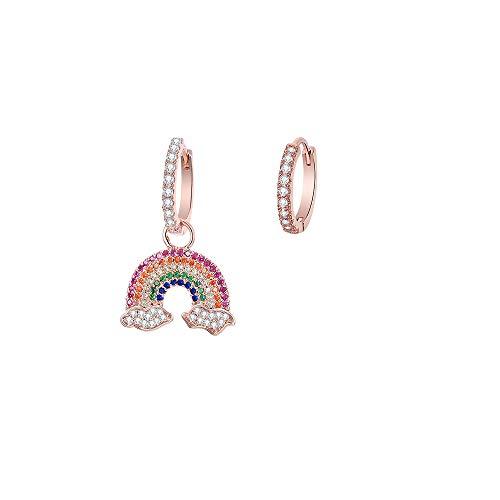 Orecchini a cerchio da donna, ipoallergenici, placcati in argento, a pendente, in oro rosa, con zirconi brillanti, idea regalo per mamma e amici e Ram