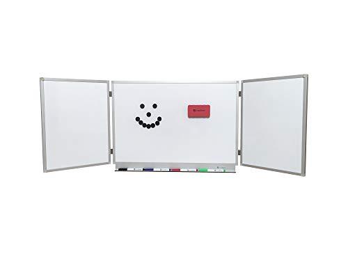 OrgaScout Klapptafel - 40cm x 60cm / 40cm x 120cm - Magnettafel mit lackierter Whiteboardoberfläche - mit Tafelwischer, 10 schwarzen Magneten und 4 farbigen Boardmarkern