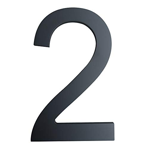 6 Inch House Numbers- Modern Floating Stainless Steel Home Address Number/Street Numbers for Outdoor/Exterior/Building/Apartment/Yard/Farmhouse/Elegant Black Finish,Number 2