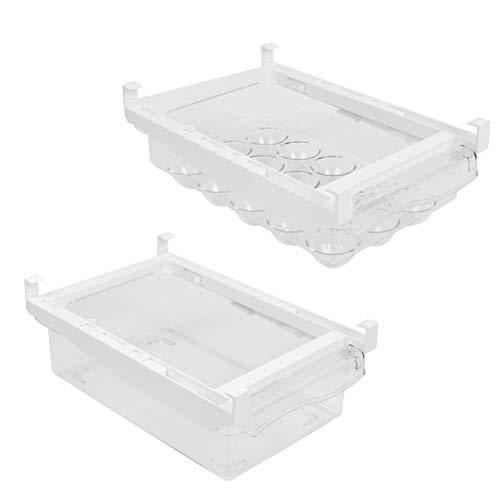 2-teiliger Aufbewahrungsbox für Kühlschrank, Ei Stücke Kühlschrank Organizer: 30 x 19,8 x 9,5 cm, oder 800ml Kühlschrank-Behälter, 30.5x 19.8x9.5cm, Obst und Gemüse