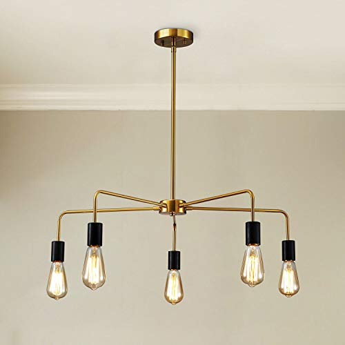Saint Mossi Chandeliers 5 Lights Modern Pendant Lighting Vintage Ceiling Light Fixture, Brass