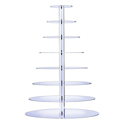 Bonnoces 8-tier Large Cupcake Stand - Acrylic Clear Round Cake Tower - Tiered Serving Dessert Holder - Holds 150+ standard cupcakes - Perfect for Wedding, Birthday,Baby Shower, Christmas and big event