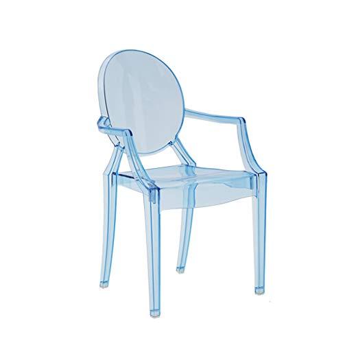 CKH Nordic Creatieve Transparante Armleuning Kinderstoel Thuis Kunststof Kristal Acryl Eetstoel Blauw