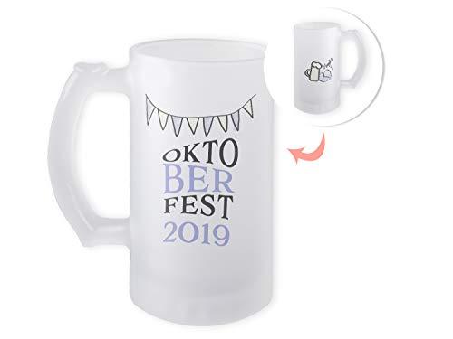 GRAZDesign Bierkrug Oktoberfest 2019, Bierglas satiniert, Geschenk zum Fest, Geburtstag, Geschenkidee, Motiv Bier 470ml