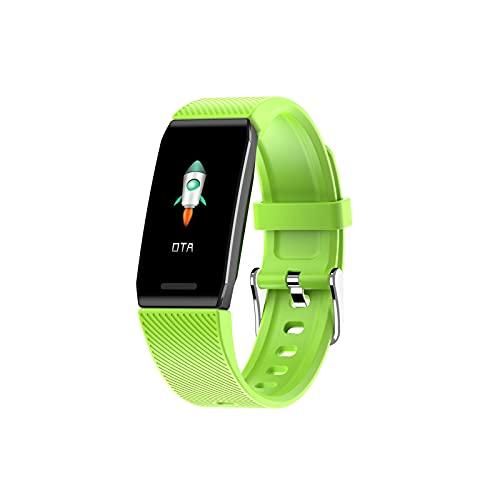 Monitor de actividad física, monitor de frecuencia cardíaca, presión arterial, monitor de temperatura, reloj inteligente, pantalla a color, impermeable, pulsera de fitness para iOS y Android (verde)