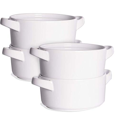 Soup Bowls with Handles - Set of 4 | French Onion Soup Bowls | Cereal, Pasta & Stew Bowl | Ramen...