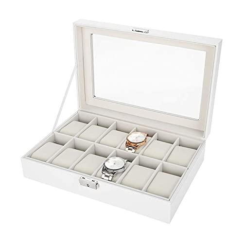 MSHOLY Relojes de Almacenamiento, vitrinas de Relojes Premium con 12 Compartimentos, Tapa de Cristal enmarcada, Cierre de Caja de Almacenamiento Seguro para Hombres y Mujeres