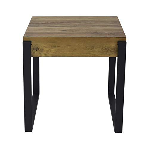 ZONS Bijzettafel van hout, poten zwart industriële stijl