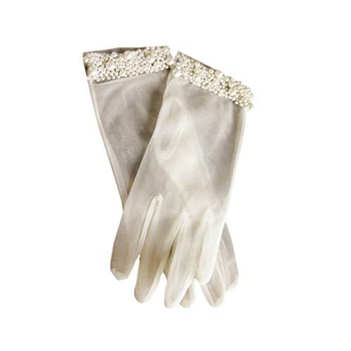 Amosfun 1 Paar Hochzeit Perle Handschuhe weiß Brautkleid Handschuhe Hochzeitskleid Zubehör
