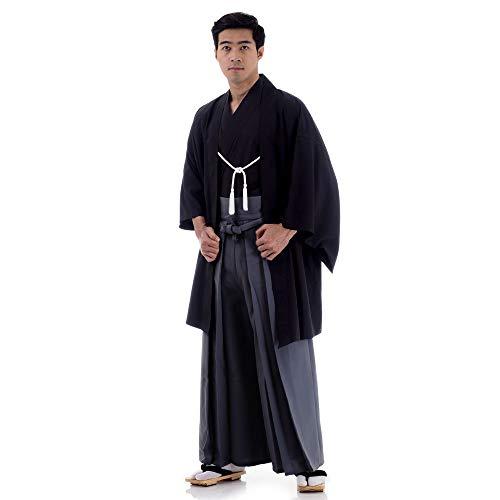 Cosplaymania Japan Samurai Kimono Set 3 Teile Kendo Gi + Hakama + Haori Baumwolle M L XL (Schwarz & Grau)
