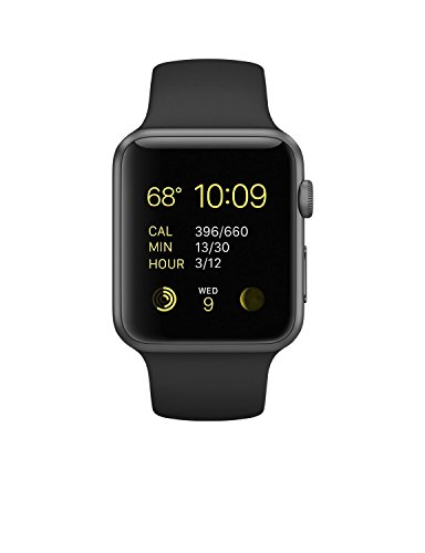 Apple Watch Sport 42mm Space Gray Aluminum Case with Black Band (Renewed)