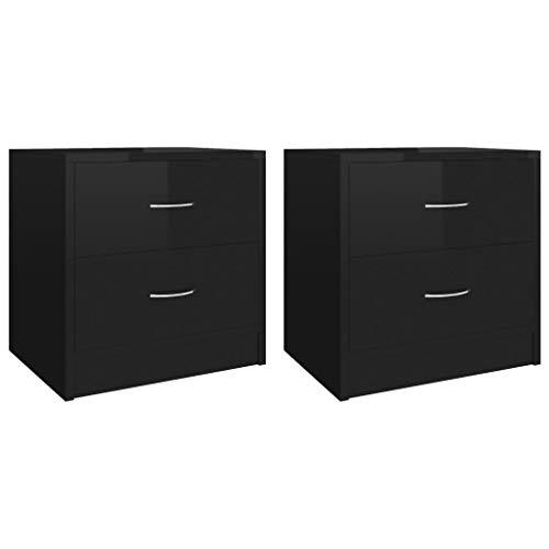 vidaXL 2X Nachttisch mit 2 Schubladen Nachtschrank Nachtkommode Nachtkonsole Schlafzimmer Kommode Schrank Nachtschränkchen Hochglanz-Schwarz 40x30x40cm Spanplatte