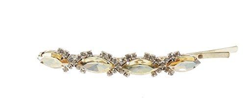 Mesdames extra strass ovale en cristal de luxe cheveux Grip clip doré 9 cm
