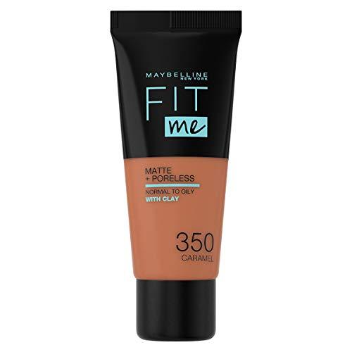 Maybelline Fit me! MATTE&PORELESS Make-up Nr. 350 Caramel, flüssiges Make-up, passt sich dem Hautton an, feuchtigkeitsspendend, mattierend, leichte bis mittlere Deckkraft, 30 ml