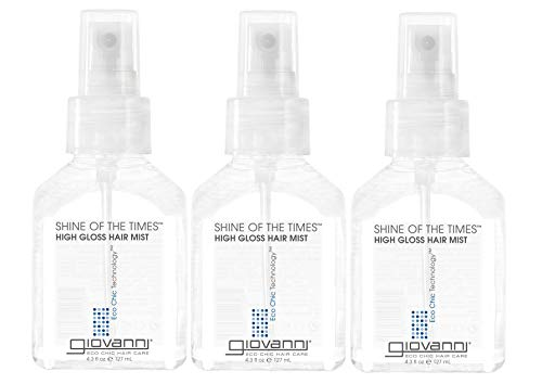 GIOVANNI Shine of the Times Finishing High-Gloss Hair Mist, 4.3 oz. Smoothing Anti Frizz Hair Gloss, No Parabens, Color Safe (Pack of 3)