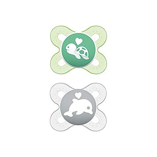 MAM Chupete Start S150 - Chupete extra pequeño para Recién Nacidos, Tetina de Látex, para Bebés de 0 a 2 meses, Neutro, Con caja Auto Esterilizable, Versión Española, 2 unidades