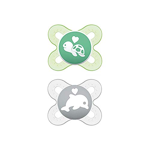 MAM Chupete Start S150 - Chupete extra pequeño para Recién Nacidos, Tetina de Látex, para Bebés de 0 a 2 meses, Neutro (2 unidades) con caja auto Esterilizable, Versión Española