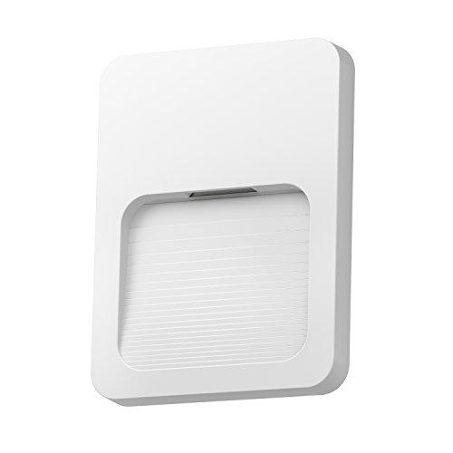 ledscom.de LED Treppen-Licht Wandleuchte Stufo, eckig, 12x9cm, 230V, warm-weiß