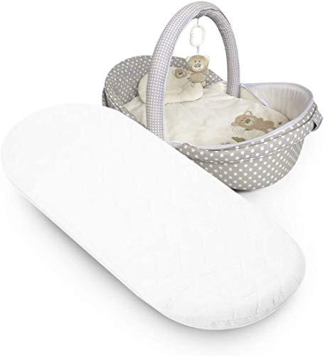 Microfibre Hypoallergenic Moses Basket Mattress Will Fit Mamas & Papas and Mothercare Pram Mattress Oval Shaped Moses Baskets (66x30x4cm)