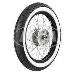 Komplettrad - VORNE - 1,5x16 Zoll - Alufelge schwarz eloxiert und poliert, Chromspeichen - MITAS-Weißwandreifen MC2 montiert