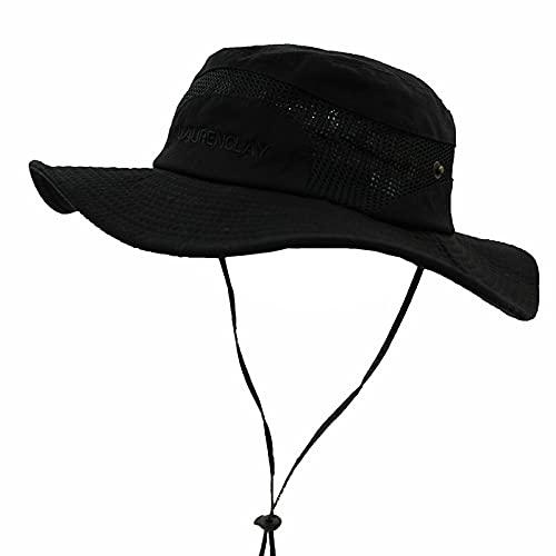 JAOAJ Sombrero de sol para hombre con ala ancha protección UV, sombrero de pesca de algodón, sombreros de jardinería de malla transpirable con correa ajustable para la barbilla