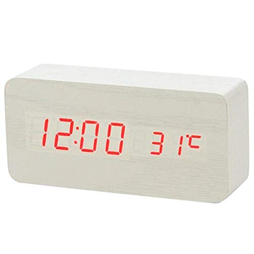Wekker LED Houten wekker Digitale Led licht tafelklok Wake Up Light Electronic Grote Tijd Temperatuur Display Luminous (Color : White red word, Size : Free)