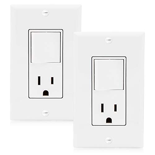 Maxxima Single Pole Combination Rocker Light Switch and Outlet, White, Wall Plates Included (2 Pack)