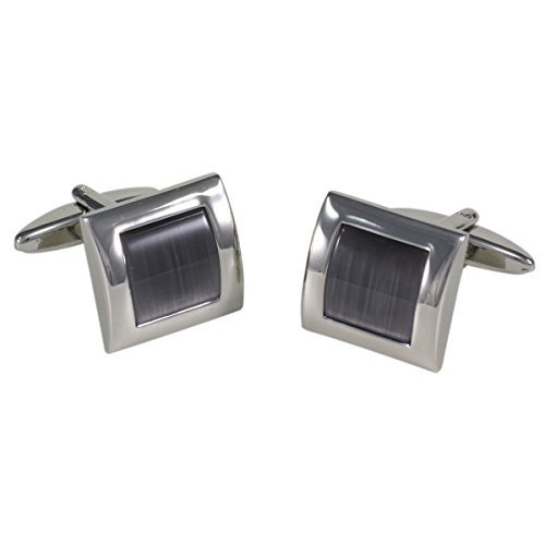 Lindenmann Cufflinks/Cuff Buttons, Silvery with Cats-Eye Anthracite, Gift Box, 10302