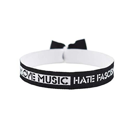 3x Love music hate facism Armband Festival Bändchen Fuck Nazis