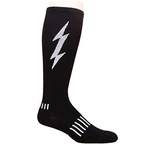 MOXY Socks Black with White Lightning Knee-High Insane Bolt Fitness Deadlift Socks