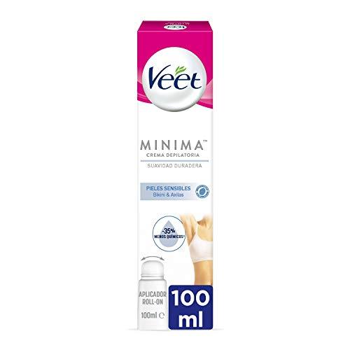 Veet Crema Depilatoria Mujer para Axilas y Área del Bikini con aplicador Roll-On para Pieles Sensibles - Suavidad Duradera - 100ml