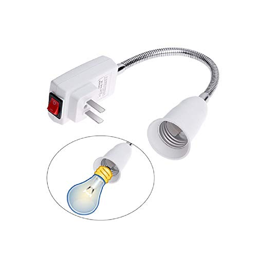 E26 E27 Plug in Light Bulb Socket Adapter Extender with On/Off Switch Extension (30cm)