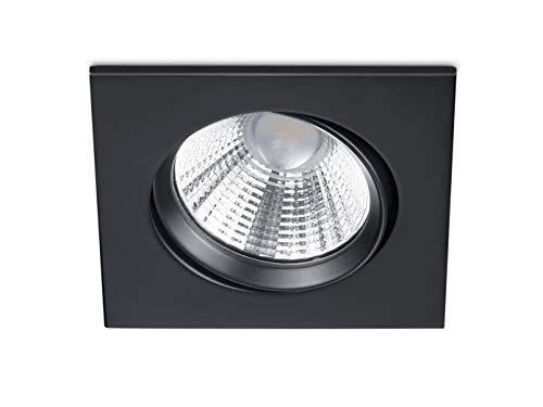 Trio Leuchten Spot LED encastrable carré orientable à intensité variable Noir mat 5,5 W