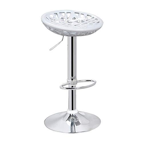 Taburetes de Bar de Metal Modernos Taburete de Bar de Silla Ajustable Altura giratoria de 360 Grados para Cocina Interior Hogar 60-77 cm (Color: Blanco, Tamaño: Taburetes de Bar Juego de 1