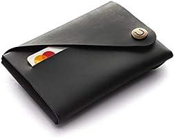 Cartera/tarjetero Minimalista de cuero | Carbon Black, Billetera negra vintage, Cartera delgada única, para hombres y...