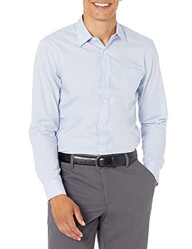 Amazon Essentials Slim-fit Wrinkle-Resistant Long-Sleeve Solid Dress Shirt Camisa, Azul (Light Blue), 15' Neck...