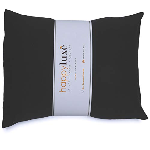 Happyluxe Travel Pillow, Small Pillow for Neck Support, 13' x 17', Lightweight, Side Sleeper, Lumbar Aid, Camping Essential, Hypoallergenic, Made in USA (Jet Black)